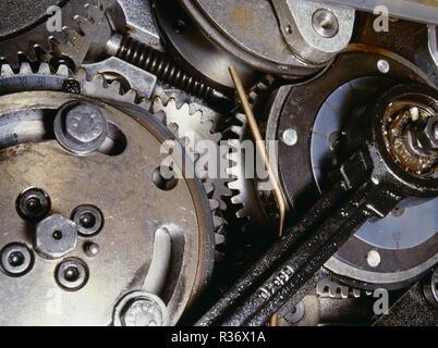 A closeup shot of gears and cogwheels - Stock Image