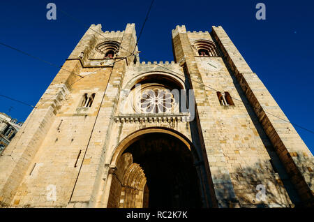 Patriarchal Cathedral of St. Mary Major, Santa Maria Maior de Lisboa or Se de Lisboa, in Lisbon, Portugal. - Stock Image
