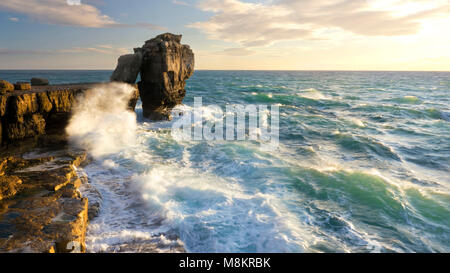 Rough seas at Pulpit Rock near Portland Dorset, England, UK - Stock Image