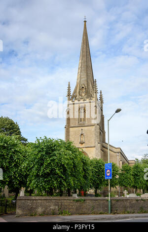 The tower and steeple of Christchurch Bradford on Avon in warm evening sunlight - Stock Image