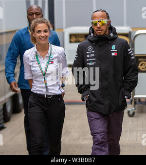 Silverstone, UK. 14th July, 2019.  FIA F1 Grand Prix of Britain, Race Day; Mercedes AMG Petronas Motorsport driver Lewis Hamilton Credit: Action Plus Sports Images/Alamy Live News - Stock Image
