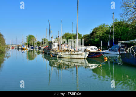 Lydney Harbour off Severn Estuary with some boats in decay - Stock Image