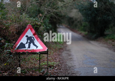 A road works sign on a country road in Cornwall. - Stock Image