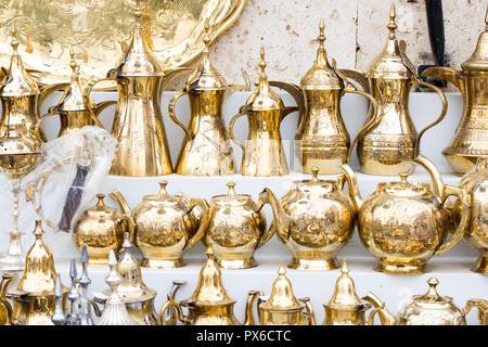 traditional brass utensils in Janadriyah festival essay in Saudi Arabia - Stock Image