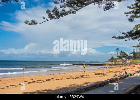 Collaroy Beach on a cold summer day, 22 Dec 2018. Sydney Australia. - Stock Image