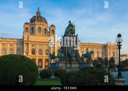 Maria Theresien Platz, view of the statue of Maria Theresa sited in the centre of Maria Theresien Platz in the museum district of Vienna, Austria. - Stock Image