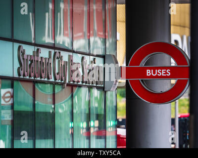 Stratford City Bus Station in Stratford East London outside the major Stratford interchange railway station - Stock Image