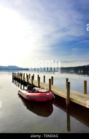 Inflatable speedboat,Waterhead,Ambleside,Lake Windermere,Lake District,Cumbria,England,UK - Stock Image