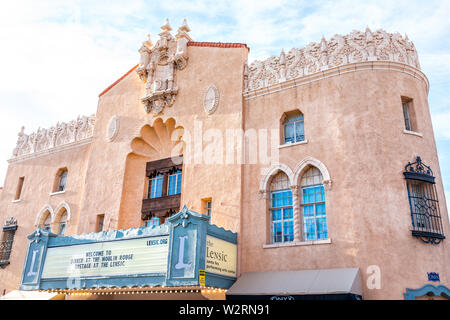 Santa Fe, USA - June 14, 2019: Old town street and stage theater in United States New Mexico city with adobe style architecture - Stock Image