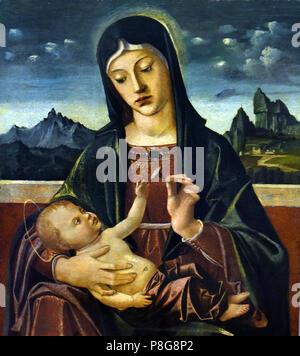 Madonna col Bambino - Madonna and Child, by Bartolomeo Montagna 1450-1523  Italy, Italian. I - Stock Image