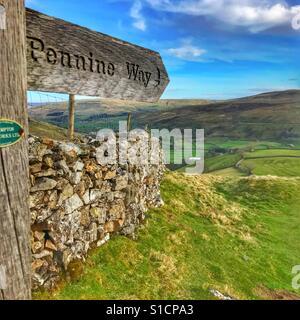 Pennine Way, public footpath sign, Yorkshire Dales, UK - Stock Image