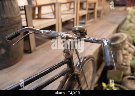 Close up, Vintage bicycle detail, old style design. - Stock Image