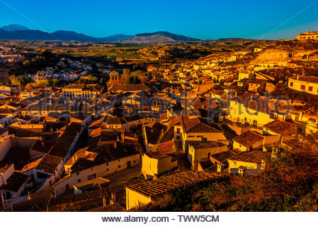 The town of Galera, which is known for its cave houses (both for residents and as accomodations for tourists), Granada Province, Andalusia, Spain. - Stock Image