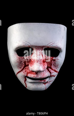 Blood mask isolated on black background with cliiping path - Stock Image