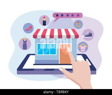 hand with tablet technogy and digital market to shopping online vector illustration - Stock Image