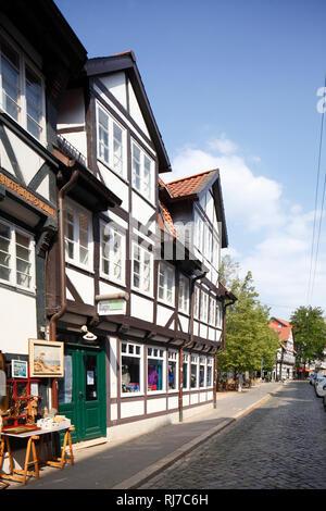 Deutschland, Niedersachsen, Braunschweig, Fachwerkhäuser im Magniviertel - Stock Image