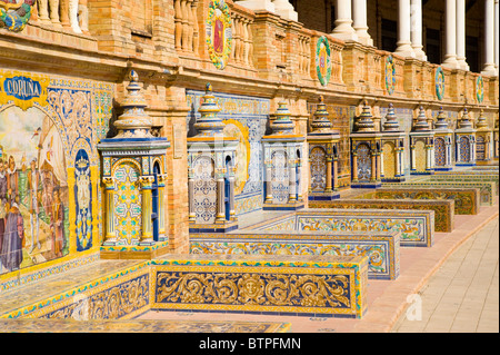 Decorative Tiles, Plaza de Espana, Seville, Andulucia, Spain - Stock Image