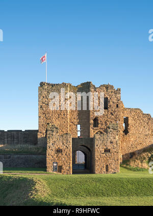 The gatehouse or Barbican of Tynemouth Castle, north east England, UK - Stock Image