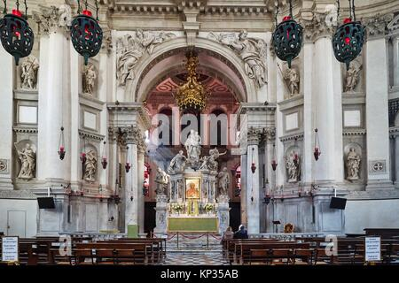 The interior of Santa Maria della Salute Church in Venice, Italy - Stock Image