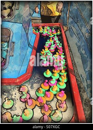 Fun fair arcade game with duckies - Stock Image