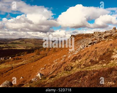 Curbar edge in Derbyshire is a popular rock-climbing escarpment. - Stock Image