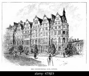 Black and White drawing of The Constitutional Club, Northumberland Avenue, London. - Stock Image