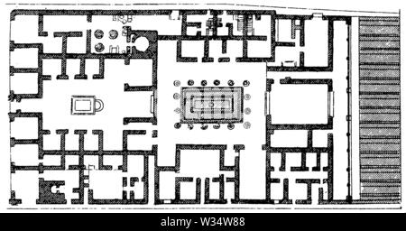 Floor plan of a house in Pompeii, ,  (cultural history book, 1875) - Stock Image