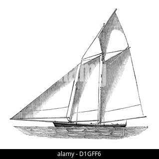 Antique Woodcut image circa 1872 fine line drawing vintage artwork two masted schooner sailboat - Stock Image