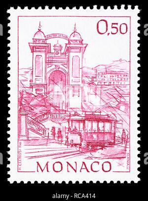 Monaco postage stamp (1991): Early Views of Monaco definitive series: Place de la Crémaillère - Stock Image