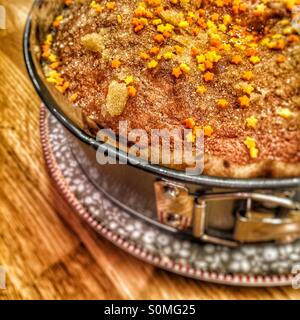 Homemade Orange drizzle cake. Family and home concept. - Stock Image