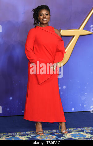 London, UK. 09th May, 2019. LONDON, UK. May 09, 2019: Clara Amfo at the 'Aladdin' premiere at the Odeon Luxe, Leicester Square, London. Picture: Steve Vas/Featureflash Credit: Paul Smith/Alamy Live News - Stock Image