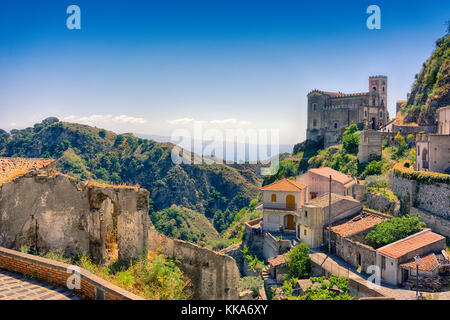 Savoca - Sicilian mountain village, used as a location for the 'Godfather' film - Stock Image