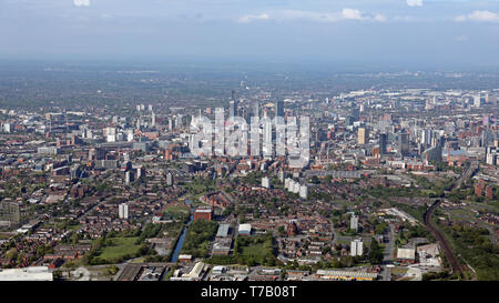 aerial view of the Manchester skyline from the east side of the city - Stock Image