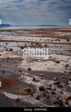Vertical landscape of Lake Magadi and salt and soda shoreline. Kenya, Africa. - Stock Image