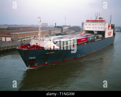 Sally Eurolink,Ship,Commercial,Ferry,Leaving Ostend,1990s,Heading for Ramsgate,Archive Image - Stock Image