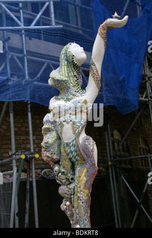 Ceramic Statue of a Woman in the New Camden Market Development, London, UK - Stock Image