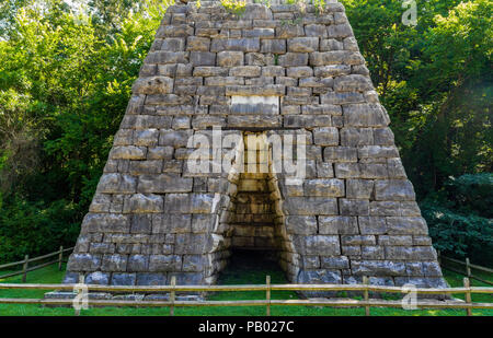 DOVER, TN, USA-30 JUNE 18: The Great Western Furnace of the Stewart County Iron Industry operated in 1856.   It is located north of Dover, TN. - Stock Image