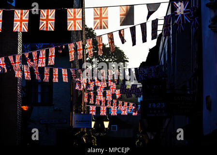 Royal wedding. Union Jack flags bunting hang in the streets of Windsor at dawn on the day of Meghan Markle and Prince Harry wedding. British. Morning - Stock Image