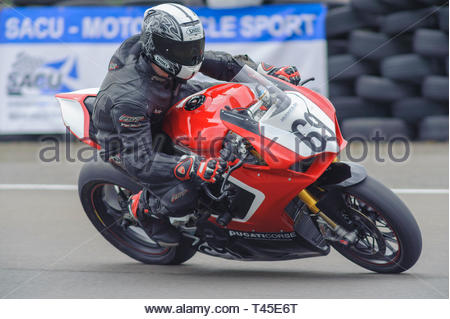 East Fortune, UK. 14 April, 2019. 69 Jordan Fleming riding a Ducati V4S in a Scottish Superbikes and Formula Melville Championship race at East Fortune Raceway, during the opening rounds of the 2019 Scottish Championships, Melville Open and Club Championships. Credit: Roger Gaisford/Alamy Live News - Stock Image