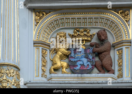 Closeup detail of Bruges Coat of Arms displayed outside the Town Hall building (Stadhuis), Bruges, West Flanders, Belgium - Stock Image