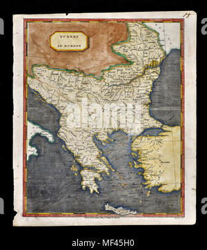 1804 Arrowsmith Map Turkey in Europe Greece Balkans Romania Bulgaria Transylvania Serbia Bosnia Montengegro - Stock Image