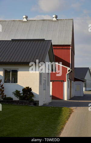 a group of outbuildings including a red barn on an Amish farm in Lancaster County, Pennsylvania, USA - Stock Image