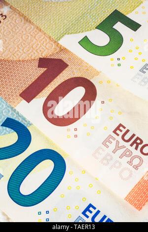 Twenty, ten and five Euros denomination paper currency bank notes, Studio Composition, Quebec, Canada - Stock Image