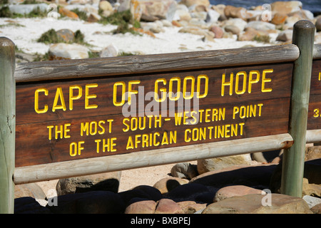 Cape of Good Hope, Cape Peninsular, Western Cape Province, South Africa. The Sign at the Most South-western Point - Stock Image