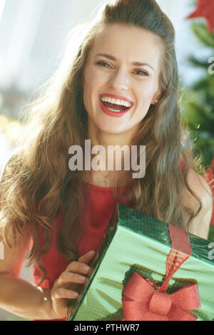 smiling stylish woman in red dress with green Christmas present box near Christmas tree - Stock Image
