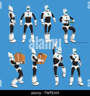 robot in different poses in set on blue background - Stock Image