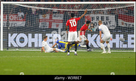 Optus Stadium, Burswood, Perth, W Australia. 17th July 2019. Manchester United versus Leeds United; pre-season tour; Mason Greenwood of Manchester United scores in the 7th minute to put Manchester United 1-0 ahead Credit: Action Plus Sports Images/Alamy Live News - Stock Image