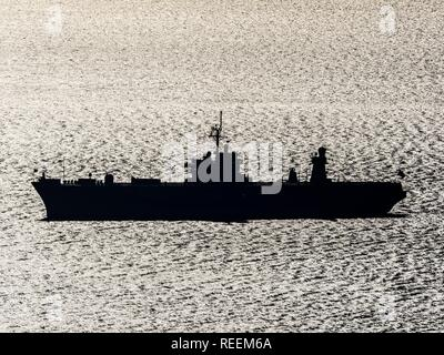 USS Mount Whitney anchored before Rijeka in Croatia - Stock Image