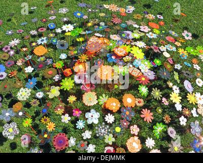 Barrington Ct Summer Flower Art in ceramic Somerset NT property England UK - Stock Image