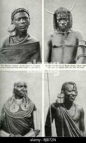 Native fashions of Kenya (then a British colony), East Africa -- a Kikuyu man of the Nairobi district (top left) with a stretched earlobe; a Masai man (top right) with buffalo headdress and plaited hair; a Masai woman (bottom left) with heavy rings on her earlobes and round her neck, and bangles on her arms; and a Kikuyu warrior (bottom right) with a stretched earlobe. - Stock Image